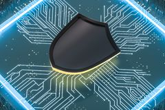 3d rendering, a defense shield with technological background royalty free stock photos