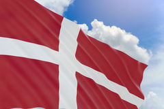 3D rendering of Denmark flag waving on blue sky background. Constitution Day observed on 5 June, This day is also Father`s Day in Denmark Royalty Free Stock Photography