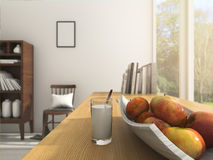 3d rendering depth of field apple and milk on working table in summer morning. 3d design and rendering  by 3dsmax Royalty Free Stock Images