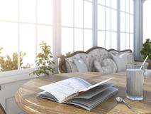 3d rendering depth of field book and glass of milk in bright white room with sun glare near the garden. 3d design and rendering  by 3dsmax Royalty Free Stock Photos