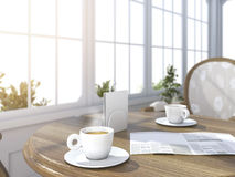 3d rendering depth of field coffee set with newspaper in bright white room with sun glare near the garden Royalty Free Stock Photo