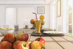 3d rendering depth of field nice breakfast and meal in summer on wood table. 3d design and rendering  by 3dsmax Royalty Free Stock Photos