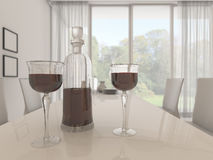 3d rendering depth of field nice glass and bottle of red wine in white bright dining room with beautiful view. 3d design and rendering  by 3dsmax Royalty Free Stock Image