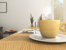 3d rendering depth of field yellow coffee cup with some white smoke on the wood working table Royalty Free Stock Photos