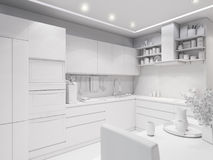 3d rendering design interior of modern kitchen. 3d illustration design interior of modern kitchen without textures Royalty Free Stock Images