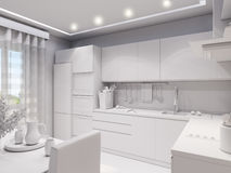 3d rendering design interior of modern kitchen. 3d illustration design interior of modern kitchen without textures Royalty Free Stock Photo