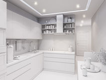 3d rendering design interior of modern kitchen. 3d illustration design interior of modern kitchen without textures Stock Image