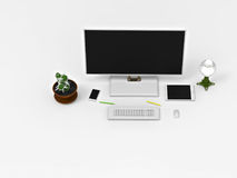 3D rendering. A Desk with a computer. 3D rendering. Visualization of the working surfaces of office equipment. Wide Format monitor, keyboard, mouse. Eat a Stock Images