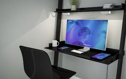 Shelve desktop website. 3d rendering of desktop in a shelves Stock Photography