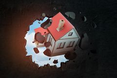 3d rendering of detached house with red tiled roof breaking through black wall with blue sky peeking through hole. Pay out mortgage. Building and construction royalty free illustration