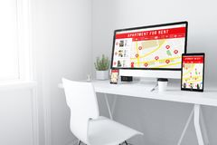 devices on white minimal apartment for rent website royalty free illustration
