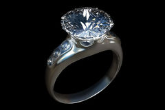 3d rendering of diamond ring closeup in dark environment black b. Ackground Stock Photography