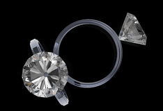 3d rendering of diamond rings. On black Royalty Free Stock Photo