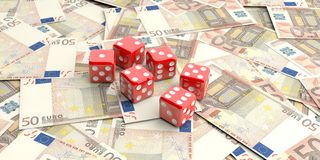 3d rendering dice on 50 euros banknotes Royalty Free Stock Photo