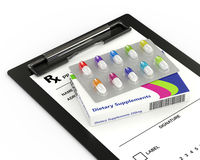 3d rendering of dietary supplements pills blister. Lying on clipboard over white Stock Photos