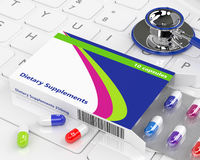 3d rendering of dietary supplements pills lying on keyboard Stock Images