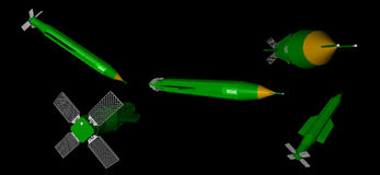 3D rendering of different views of Massive Ordnance Air Blast - MOAB - Bomb Royalty Free Stock Image