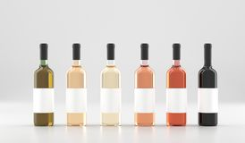 Different Wine Bottles With Empty White Labels Stock Photos