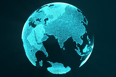 3d rendering digital Earth hologram concept. Technology image of globe blue futuristic color with light rays. Stock Photos