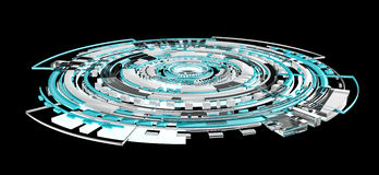3D rendering digital tech blue interface. On black background Stock Photo