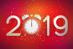 3d rendering of digits 2019 with a retro alarm clock instead of a zero digit on red background with falling confetti all royalty free stock photos