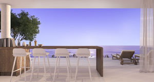 3d rendering dining bar in small villa near beautiful beach and sea with sunset Stock Image