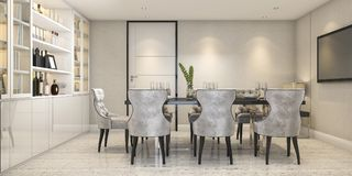 3d rendering dining set in modern luxury dining room near door Stock Images