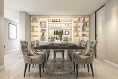 3d rendering dining set in modern luxury dining room near door Stock Photography