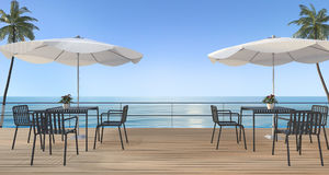 3d rendering dining set on wood terrace near sea in summer with umbrella beach Stock Images