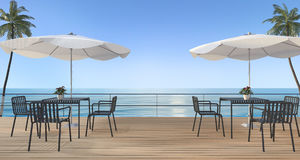 3d rendering dining set on wood terrace near sea in summer with umbrella beach Stock Image
