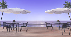 3d rendering dining set on wood terrace near sea in summer with umbrella beach in twilight scene Stock Photos