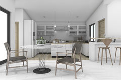 3d rendering dining zone in contemporary kitchen. 3d rendering interior design by 3ds max Stock Image