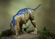 3D Rendering Dinosaur Tyrannosaurus. 3D rendering of a dinosaur Tyrannosaurus on a green forest background Stock Photo