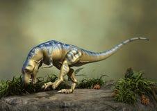3D Rendering Dinosaur Tyrannosaurus. 3D rendering of a dinosaur Tyrannosaurus on a green forest background Stock Photos