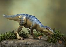 3D Rendering Dinosaur Tyrannosaurus. 3D rendering of a dinosaur Tyrannosaurus on a green forest background Royalty Free Stock Photography