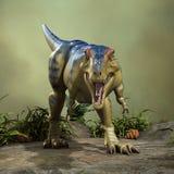 3D Rendering Dinosaur Tyrannosaurus. 3D rendering of a dinosaur Tyrannosaurus on a green forest background Royalty Free Stock Images