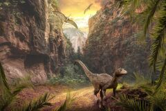 3d rendering of dinosaurs in a rocky jungle landscape