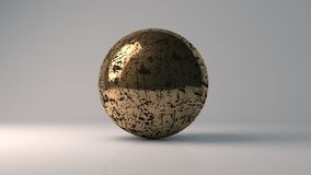 3d rendering of dirty sphere. Big golden dirty glass sphere with transparent glares and highlights on gray background. Black pearl.gradients, effects. Abstract Royalty Free Stock Photos