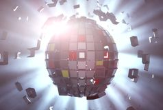 Disco ball and lights. 3D rendering. Disco ball and lights Stock Illustration