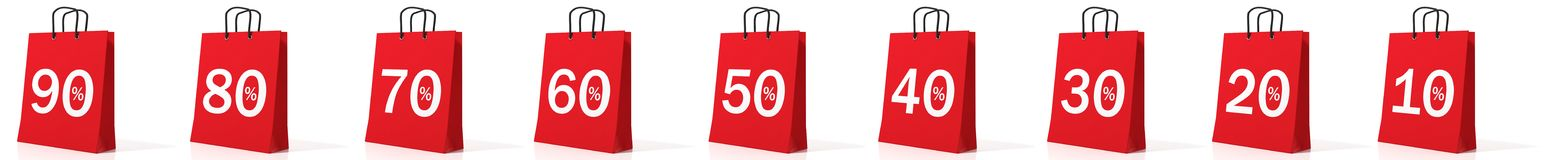 3d rendering discount symbols on shopping bags. On white background Royalty Free Stock Photography