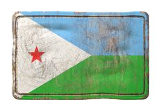 Old Djibouti flag. 3d rendering of a Djibouti flag over a rusty metallic plate. Isolated on white background Stock Photo