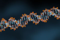 3D Rendering of DNA Helix, Abstract Background. Glossy Glowing Color Atoms and Dark Background royalty free illustration
