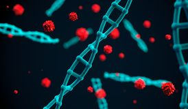 3D Rendering Of DNA Molecules. And Cells On Dark Background stock illustration