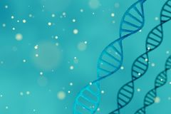 DNA structure, blue abstract background with copyspace. 3D rendering of a DNA structure, blue abstract background with copyspace Stock Photography
