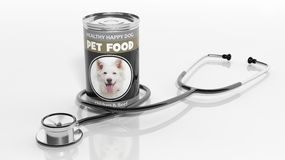 3D rendering of, dog canned food and a stethoscope. On white background Royalty Free Stock Photos