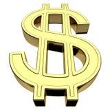 3D rendering dolar amerykański waluty symbol, złoto odizolowywający na białym tle ilustracji