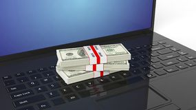 3D rendering of 100 Dollar banknotes bundles. On laptop's keyboard stock illustration