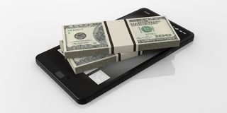 3d rendering 100 dollar banknotes stack on a smartphone. 3d rendering 100 dollar banknotes stack on a black smartphone stock illustration