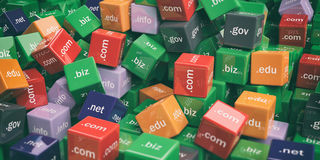 3d rendering domain names cubes background Stock Images