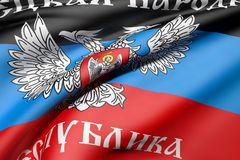 Donetsk Peoples Republic flag waving. 3d rendering of Donetsk Peoples Republic flag waving Stock Image
